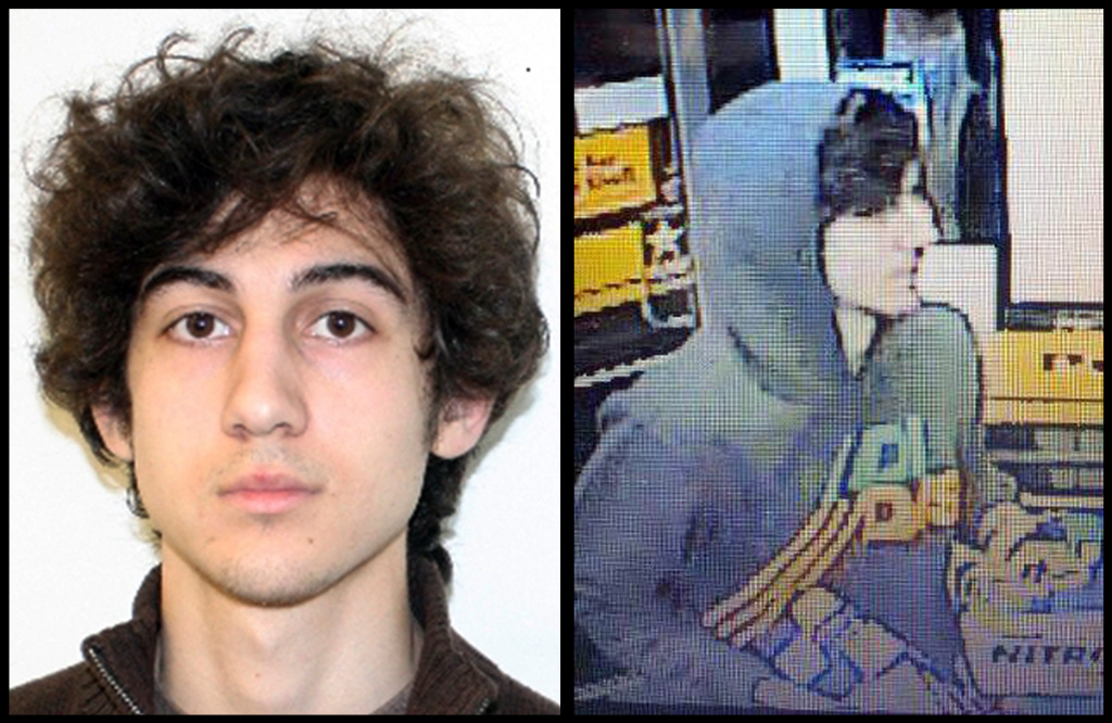 This combination of photos provided on Friday, April 19, 2013 by the Federal Bureau of Investigation, left, and the Boston Regional Intelligence Center, right, of Dzhokhar Tsarnaev, the suspect in custody for the Boston Marathon bombings.