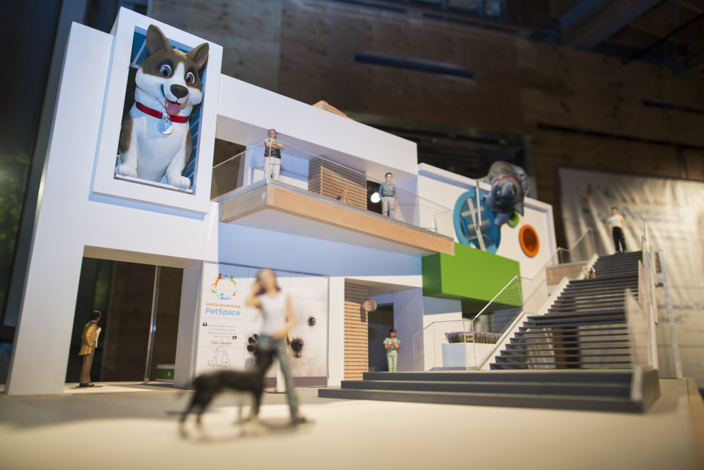 A model displays the Wallis Annenberg PetSpace in Playa Vista – a two-story, 30,000 square-foot space that will include a pet adoption center and exhibition space.