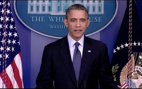 President Obama delivers a statement from the James S. Brady Press Briefing Room in the West Wing of the White House. October 8, 2013.