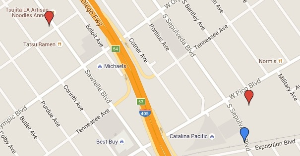 A map of points of interest near the Expo/Sepulveda station.