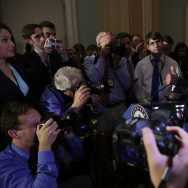 Senate Majority Leader Mitch McConnell (R-KY) (R) talks to reporters following the weekly GOP policy luncheon.