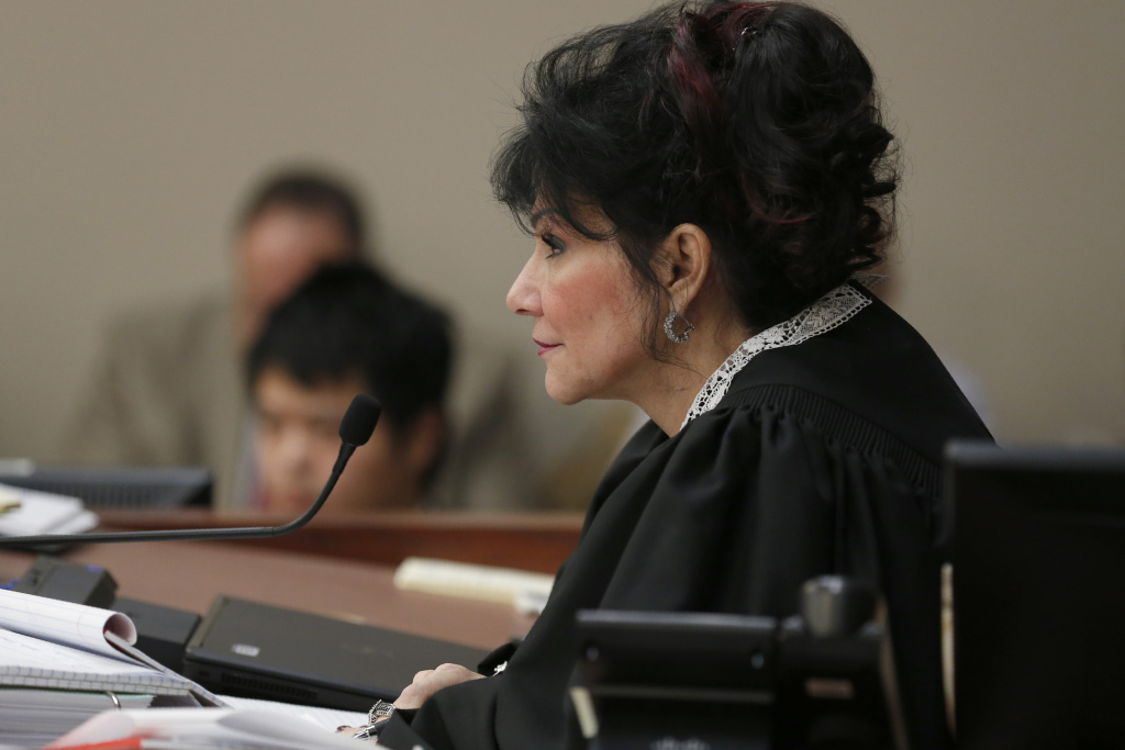 Judge Rosemarie Aquilina watches victims as former Michigan State University and USA Gymnastics doctor Larry Nassar listens to impact statements during the sentencing phase in Ingham County Circuit Court on January 24, 2018 in Lansing, Michigan.