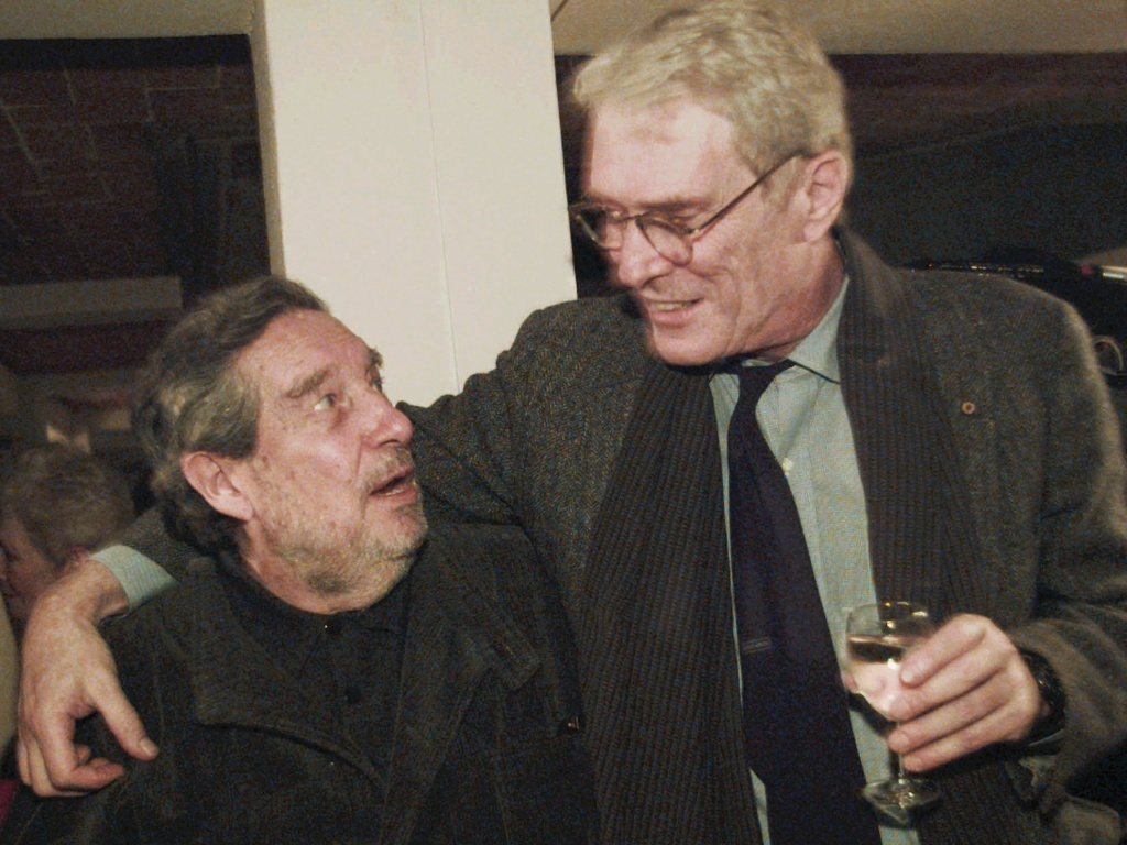 Former U.S. Poet Laureate Mark Strand (right) with Mexican author and Nobel Prize winner for literature, Ocatavio Paz, at Johns Hopkins University in Baltimore, in 1995. Strand has died of cancer at age 80.