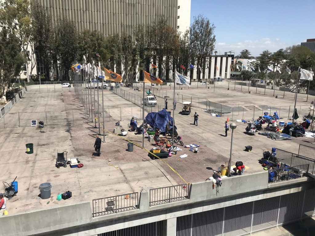 The Plaza of the Flags on April 12, 2018. Just two weeks prior, the plaza was filled with tents where some 180 homeless people lived.