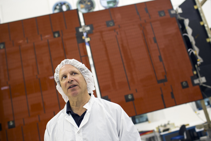 Doug Bernard, project system engineer for Juno, speaks during a media preview of hardware models from NASA's Juno mission to Jupiter inside a clean room at Jet Propulsion Laboratory in Pasadena on Thursday morning, June 9, 2016. The spacecraft's orbital insertion takes place this Monday, July 4.