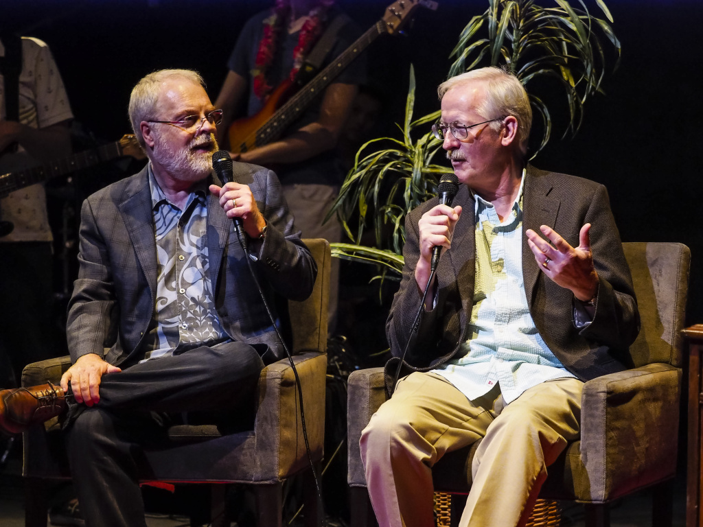 Disney's Ron Clements and John Musker talk during Off-Ramp's 10th Anniversary special at the Los Angeles Theater Center in Downtown LA