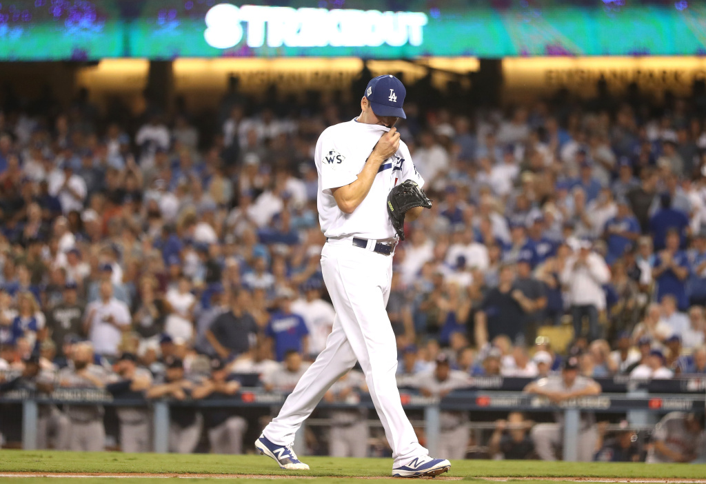 Rich Hill #44 of the Los Angeles Dodgers reacts during the fourth inning against the Houston Astros in game two of the 2017 World Series at Dodger Stadium on October 25, 2017 in Los Angeles, California.