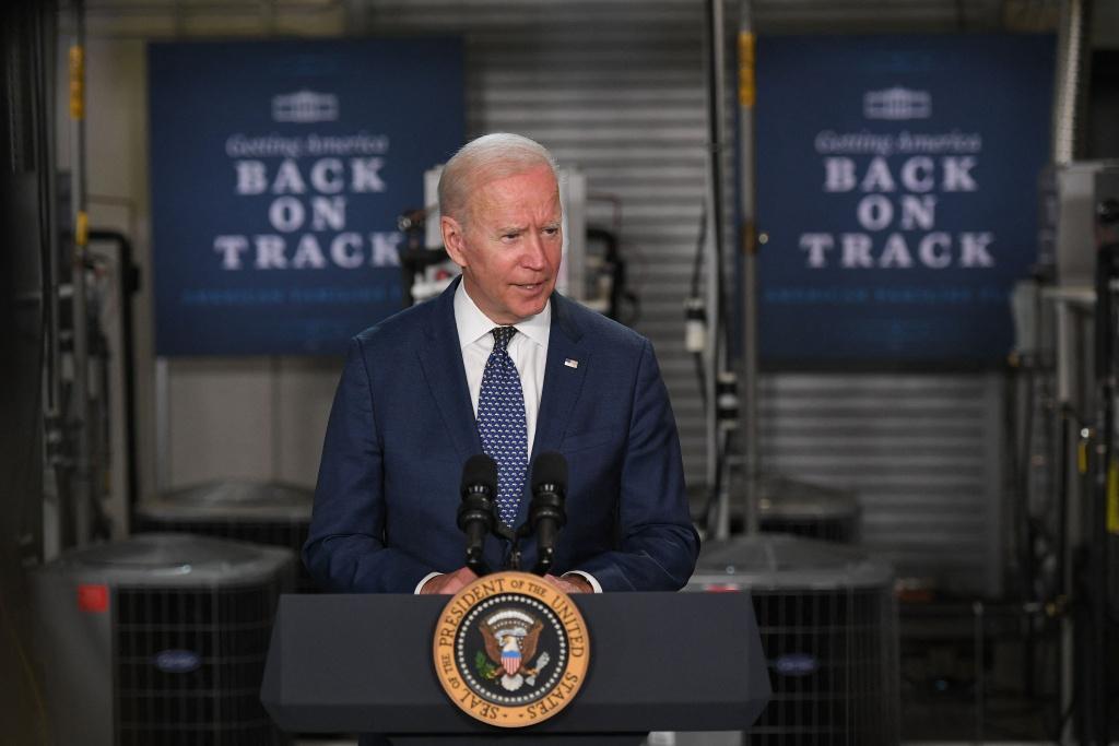 US President Joe Biden speaks following a tour of Tidewater Community College in Norfolk, Virginia on May 3, 2021.