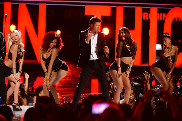 Recording artist Robin Thicke performs onstage during the 2013 BET Awards at Nokia Theatre L.A. Live on June 30, 2013 in Los Angeles.