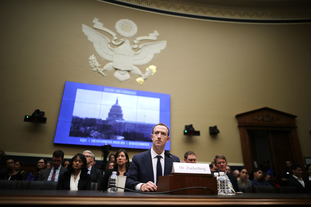 Facebook CEO Mark Zuckerberg testifies before the House Energy and Commerce Committee in the Rayburn House Office Building in Washington.