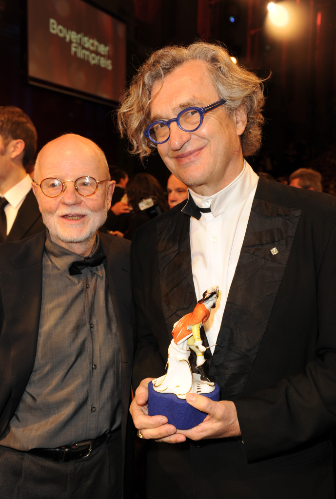 Guenter Rohrbach (L) and Wim Wenders (R) after receiving the Bavarian Movie Award during the Bavarian Movie Awards 2012 (Bayerischer Filmpreis) at Prinzregententheater on January 20, 2012 in Munich, Germany.