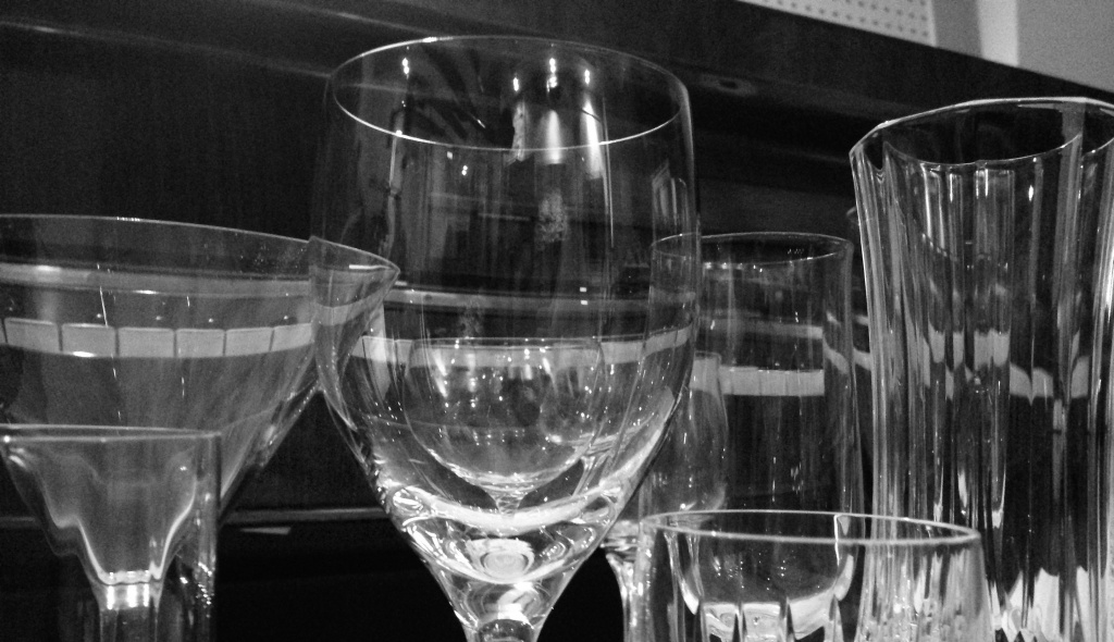 Crystal wine glasses from Lockington's eclectic collection of instruments.
