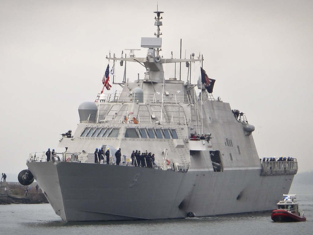 The Navy's new USS Little Rock arrives at the harbor in Buffalo, N.Y., on Dec. 4. In imposing tariffs on steel and aluminum imports, President Trump said the U.S. military should be as self-sufficient as possible.