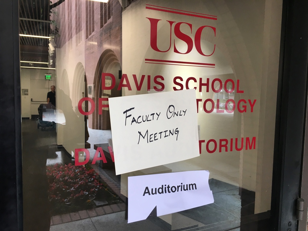 USC professors met behind closed doors.