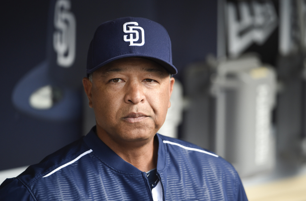 Interim manager Dave Roberts #8 of the San Diego Padres looks on before a baseball game against the Oakland Athletics at Petco Park June 15, 2015 in San Diego, California.