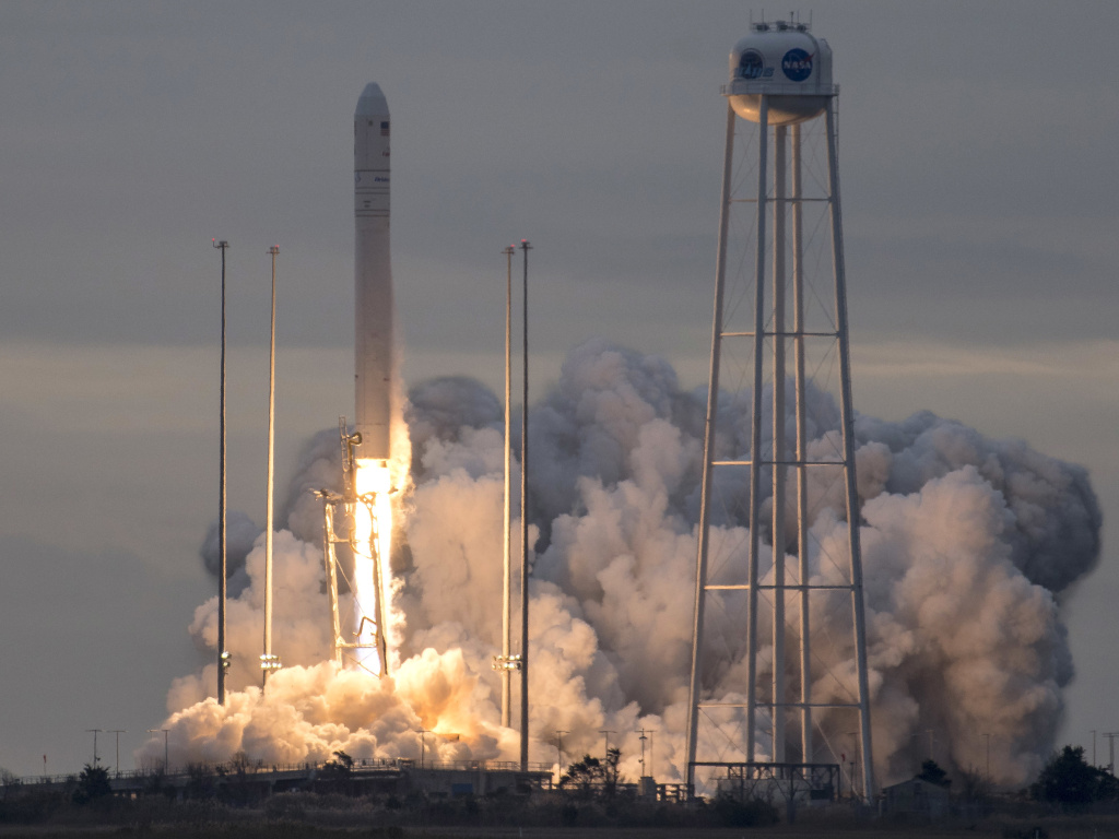 The unmanned Antares rocket launched from Wallops Island, Va. Sunday, carrying with it a Cygnus capsule containing some 7,400 pounds of supplies for astronauts at the International Space Station.