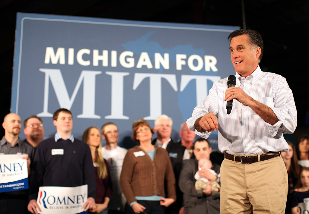 Republican presidential candidate, former Massachusetts Gov. Mitt Romney speaks during a campaign rally at Caster Concepts on February 27, 2012 in Albion, Michigan.