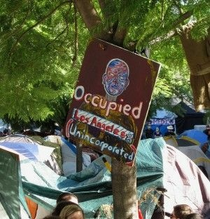A sign at the Occupy L.A. camp, October 2011
