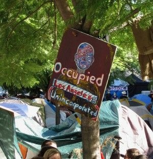 A sign at the Occupy Los Angeles camp, October 2011