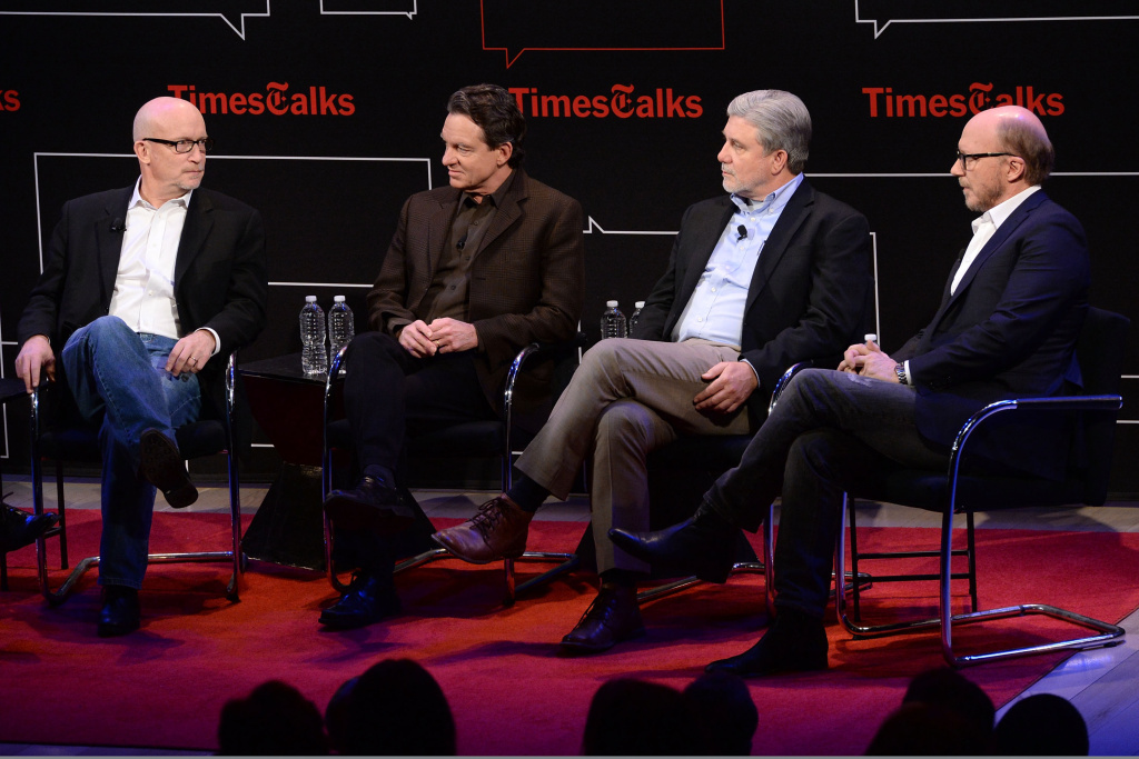 (L-R) Alex Gibney, Lawrence Wright, Mike Rinder and Paul Haggis attend TimesTalks Presents An Evening With