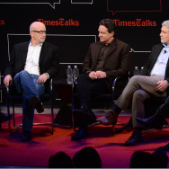 "(L-R) Logan Hill, Alex Gibney, Lawrence Wright, Mike Rinder and Paul Haggis attend TimesTalks Presents An Evening With ""Going Clear: Scientology and the Prison of Belief"" at The Times Center on March 2, 2015 in New York City."