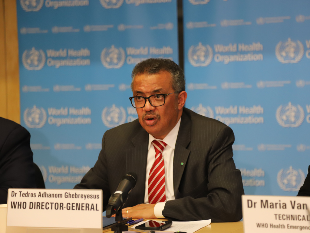 World Health Organization Director-General Tedros Adhanom Ghebreyesus at a news conference in March.