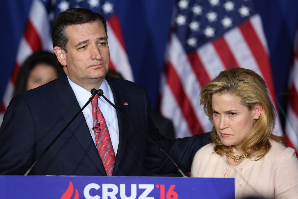 Republican presidential candidate, Sen. Ted Cruz (R-TX) announces the suspension of his campaign as wife Heidi Cruz looks on during an election night watch party in Indianapolis, Indiana.
