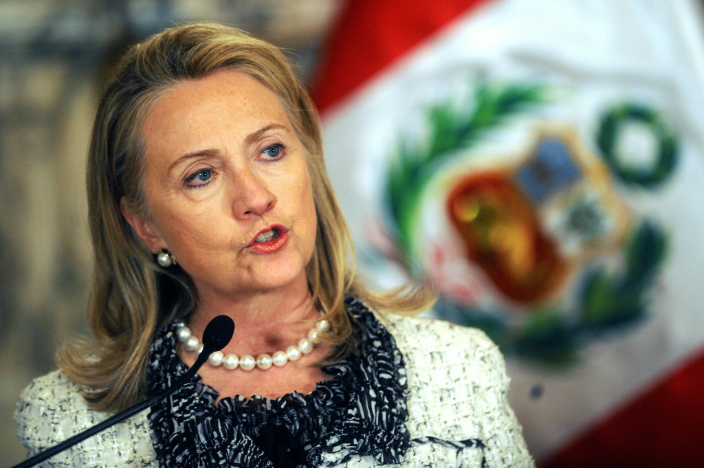 US Secretary of State Hilary Clinton speaks during a joint press conference with Peruvian President Ollanta Humala (not in frame) at the Government Palace in Lima on October 15, 2012.