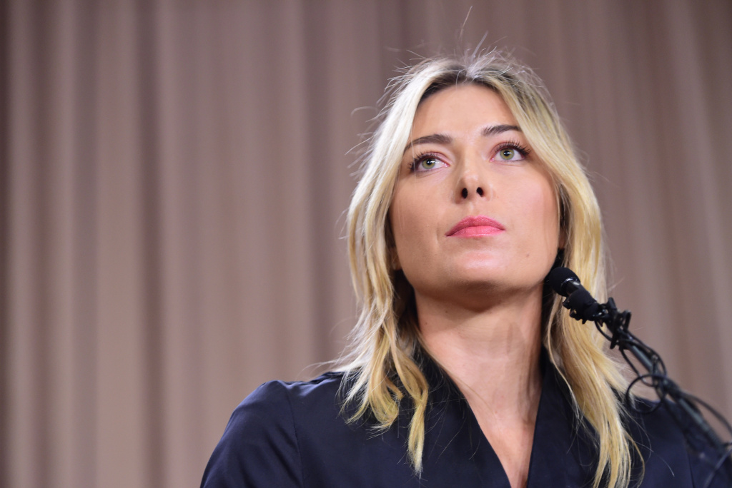 Russian tennis player Maria Sharapova speaks at a press conference in downtown Los Angeles, March 7, 2016.
