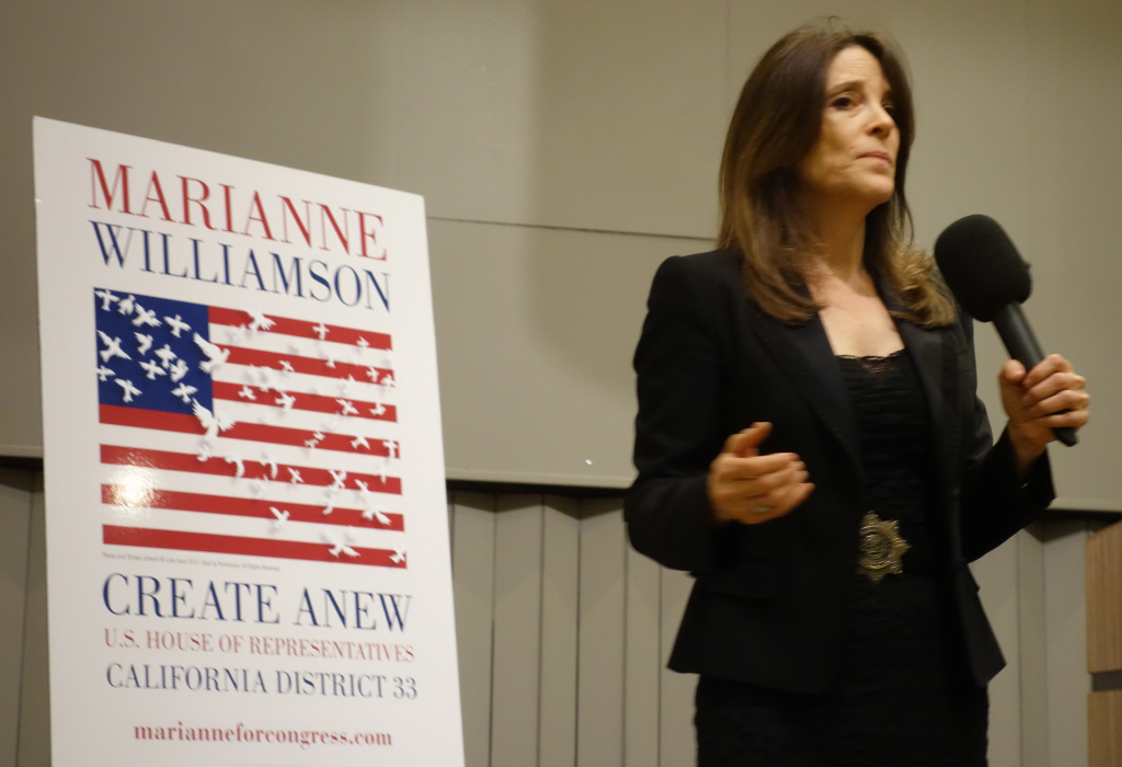 Marianne Williamson, seen here at a February campaign event, has raised more money to date than any other candidate in the race to succeed retiring Congressman Henry Waxman.