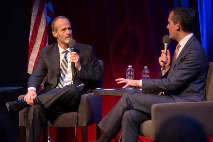 Los Angeles Mayor Eric Garcetti speaks with KPCC political reporter Frank Stoltze at the Crawford Family Forum on October 21.