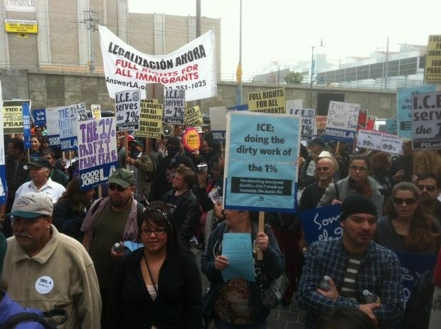 """Occupy ICE"" protesters in Los Angeles, December 15, 2011"