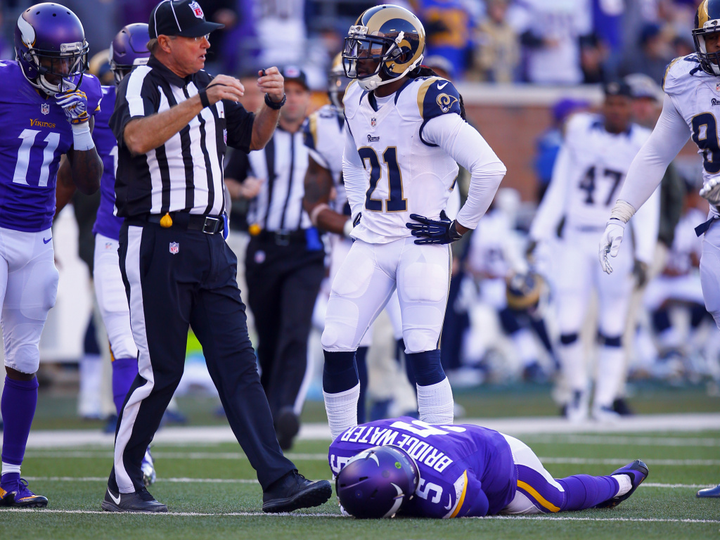 Minnesota Vikings quarterback Teddy Bridgewater lies unconscious after sustaining a particularly nasty hit to the head during a game against the St. Louis Rams in 2015. The NFL reports there were 271 diagnosed concussions last year.