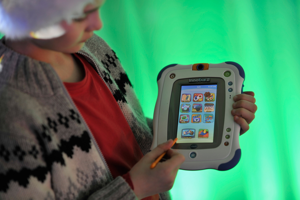 File: The VTech InnoTab 2 at the launch of Dream Toys 2012 at St Mary's Church in London, England.