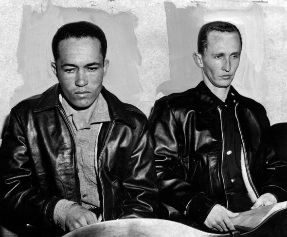 Photo of Jimmy Lee Smith (left), and Gregory Ulas Powell (right), 1963. Both were then suspects in the
