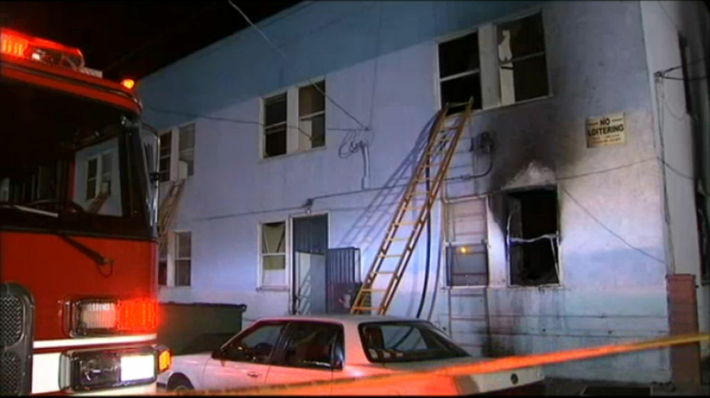 A two-story apartment building in San Pedro that suffered extensive damage during an early morning fire on January 22, 2013.