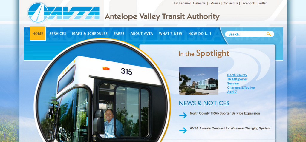 Screenshot of Antelope Valley Transit Authority's website taken April 28, 2014.