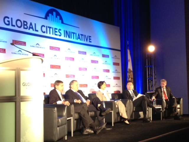 A panel discussion at the Global Cities Initiative, which convened at USC on March 21 at USC in Los Angeles. On the agenda was the shift from trade between countries to trade between cities.