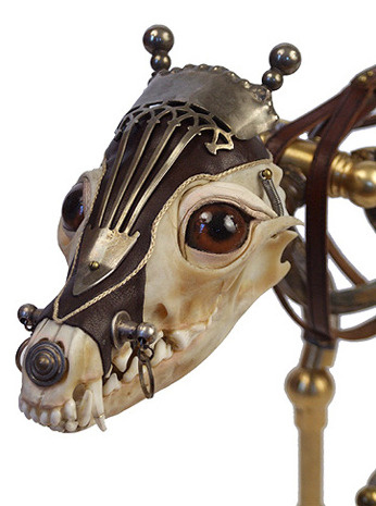 """Luca"" by Jessica Joslin. Uses antique hardware, silver, brass, leather, bone, glass."