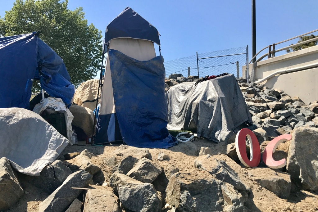 A homeless encampment near the Santa Ana River, April 21, 2017. Anaheim City Council voted on Sept. 13 to declare a state of emergency because of the growing homeless population living along the river.