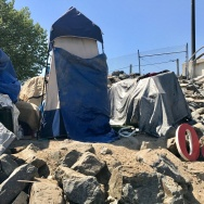 A homeless encampment near the Santa Ana River, April 21, 2017. The Orange County Board of Supervisors voted June 6 to dedicate $750,000 toward a pilot project aimed at moving homeless people off the river and into permanent housing.