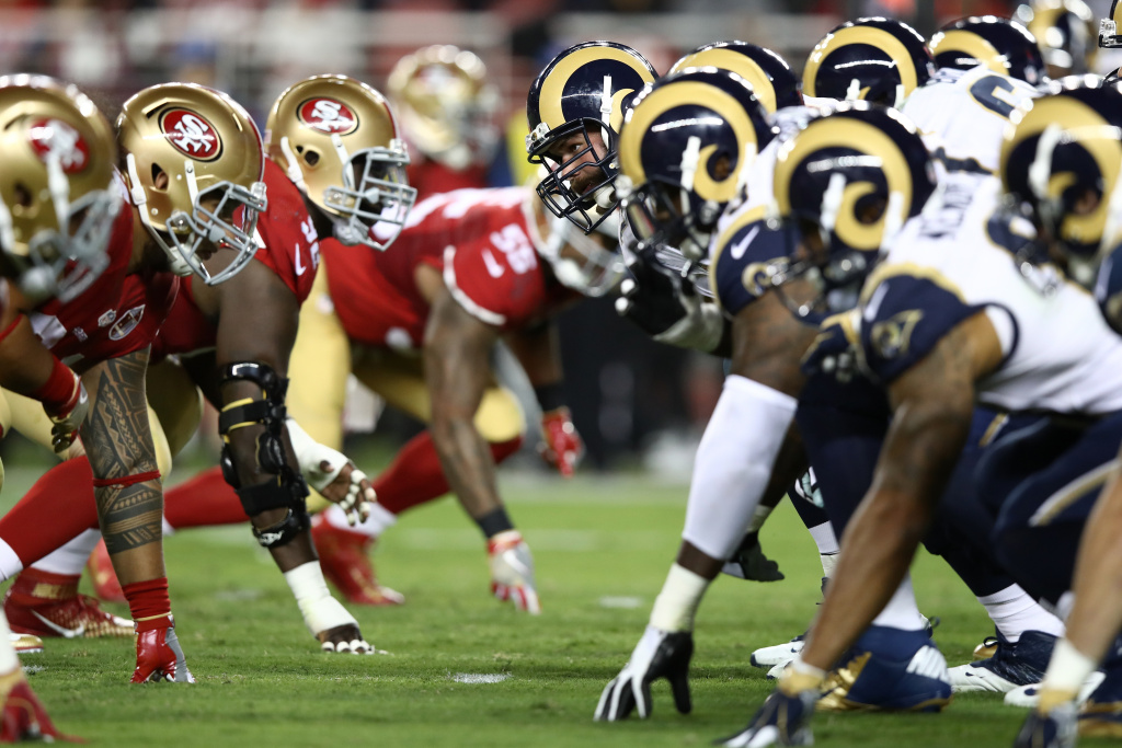 SANTA CLARA, CA - SEPTEMBER 12:  The Los Angeles Rams line up against the San Francisco 49ers during their NFL game at Levi's Stadium on September 12, 2016 in Santa Clara, California. Before that game several players participated in silent protests during the national anthem –protests that have continued this week.
