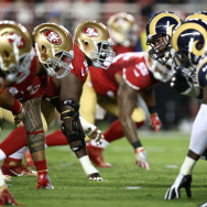 SANTA CLARA, CA - SEPTEMBER 12:  The Los Angeles Rams line up against the San Francisco 49ers during their NFL game at Levi's Stadium on September 12, 2016 in Santa Clara, California. Before that game several players participated in silent protests during the national anthem – protests that have continued this week.