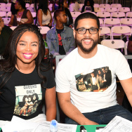 Jemele Hill (L) and her cohost Michael Smith at the Celebrity Basketball Game during the 2017 BET Experience, at Los Angeles Convention Center on June 24, 2017 in Los Angeles, California.