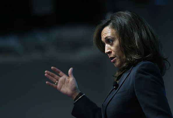 California Attorney General Kamala Harris speaking in February in Menlo Park.
