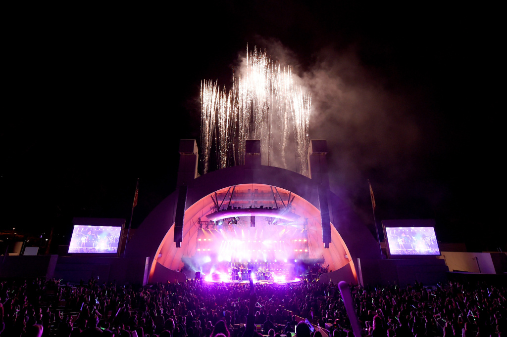 A fireworks display during CBS RADIO's fourth annual We Can Survive concert at the Hollywood Bowl on October 22, 2016 in Hollywood, California.