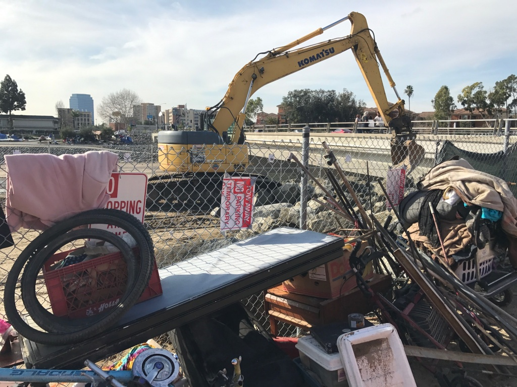 The remains of a homeless encampment cleared from land along the Santa Ana River owned by Orange County Public Works, Feb. 8, 2017. A judge ruled on Feb. 24 that the county must take greater pains to protect and store homeless people's property.