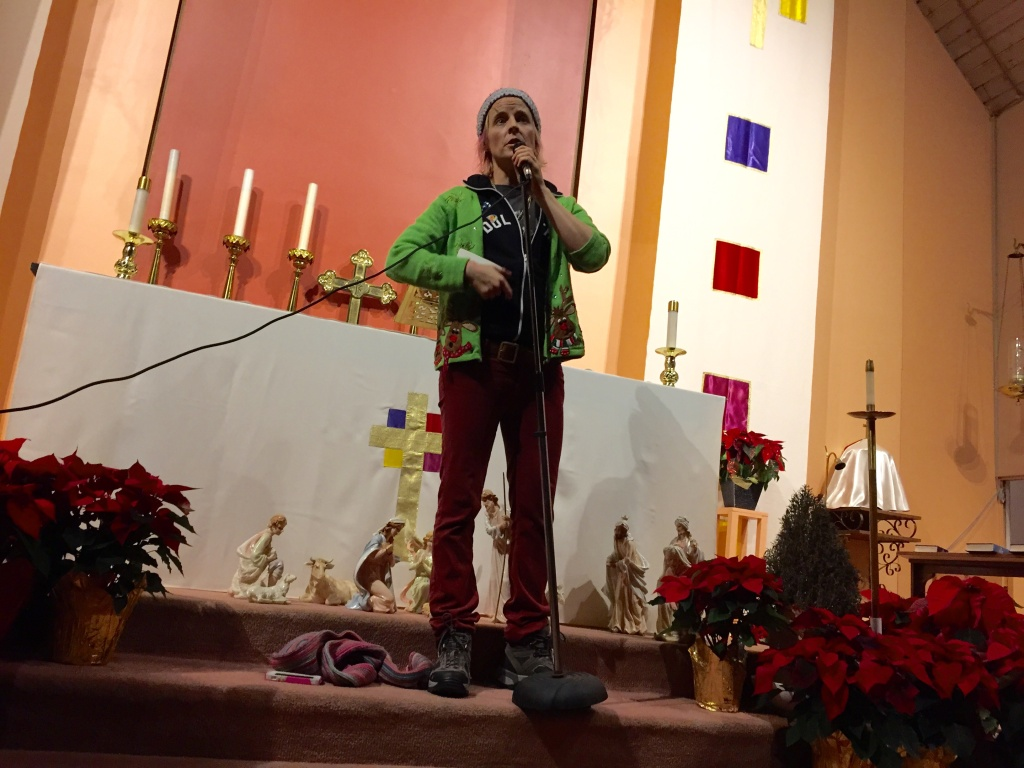 Comic Maria Bamford performs for the shelter residents at All Saints'.