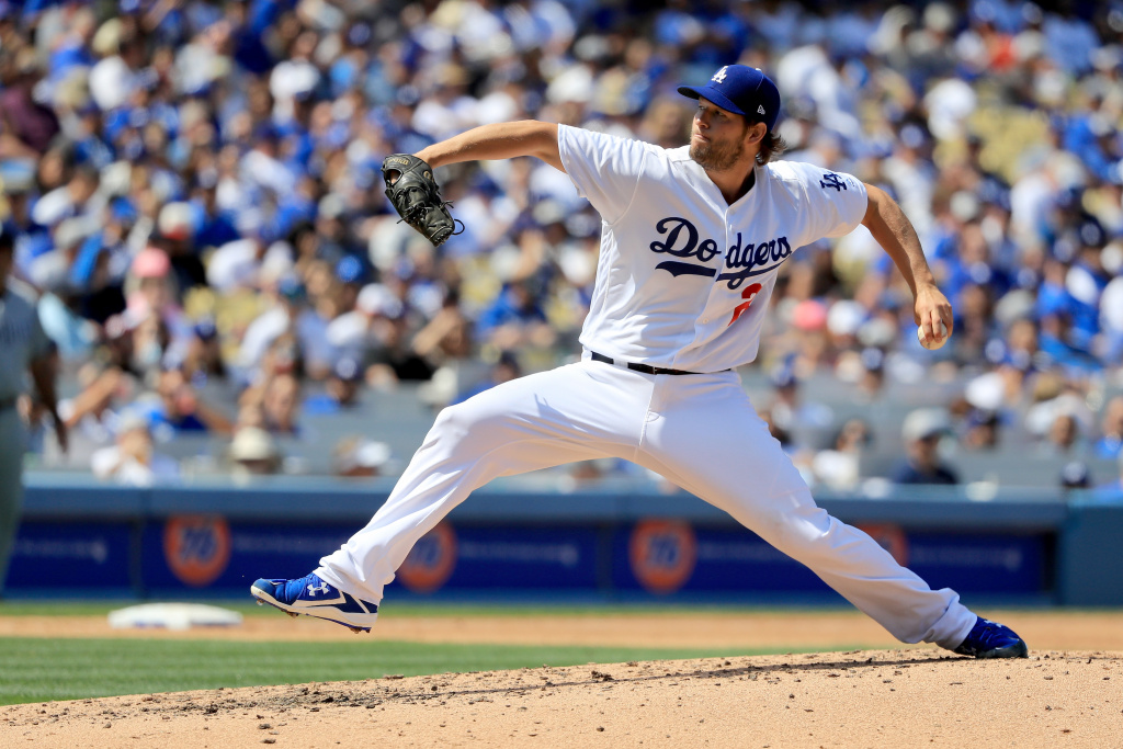 LOS ANGELES, CA - APRIL 03:  Clayton Kershaw #22 of the Los Angeles Dodgers pitches during the fifth inning during an Opening Day game against the San Diego Padres at Dodger Stadium on April 3, 2017 in Los Angeles, California.  (Photo by Sean M. Haffey/Getty Images)