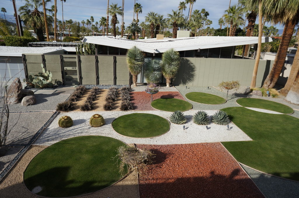 Exterior of the Menrad Residence by Palmer and Krisel, 1956-57, lovingly restored, with new landscape. Seen on the Iconic Home Tour, organized for Modernism Week by the Palm Springs Modern Committee